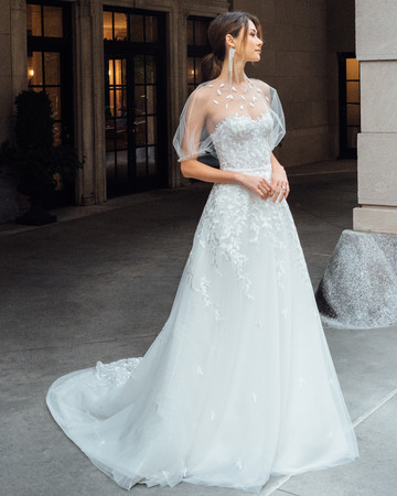 mira zwillinger dress fall 2019 a line sweetheart illusion high neck flutter sleeves leaf applique
