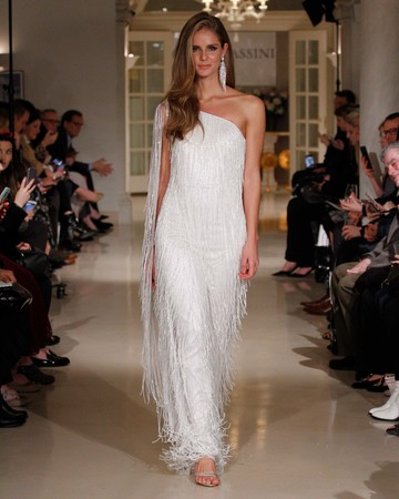 oleg cassini spring 2019 wedding dress one shoulder tassel details