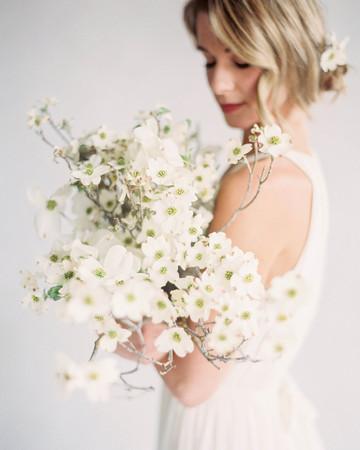 minimal romantic dogwood bouquet