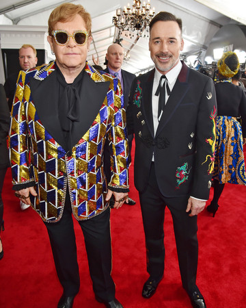 Elton John and David Furnish 2018 Grammy Awards