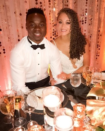 NFL player Jeremy Maclin and Adia Kuzma on their wedding day