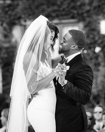 Kevin Hart and Eniko Parrish on wedding day
