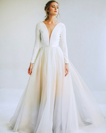 leanna marshall long sleeve deep slit bodice ball gown wedding dress spring 2020