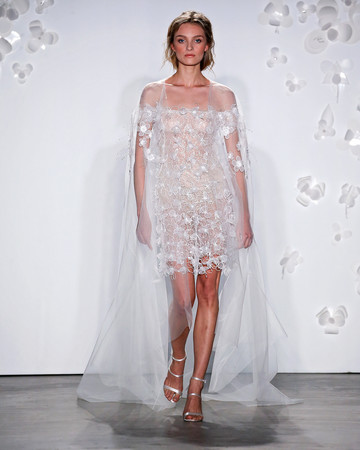 mira zwillinger short off-the-shoulder wedding dress spring 2020