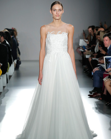 nouvelle amsale a-line illusion neckline tulle wedding dress spring 2020
