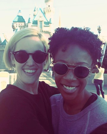 Samira Wiley and Lauren Morelli in Disneyland
