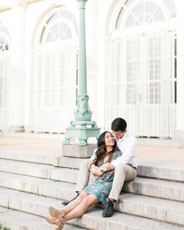 couple on steps engagement photo