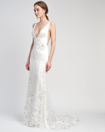 spaghetti strap deep v-neck floral applique train a-line wedding dress Lover of Mine by Alexandra Grecco Spring 2020