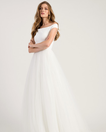 jenny by jenny yoo wedding dress off the shoulder a-line tulle