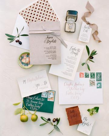 suede wedding invitation suit