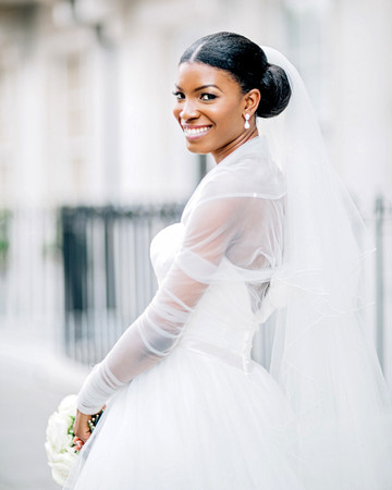 bride with lower bun updo