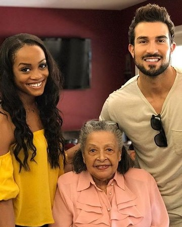 Rachel Lindsay and Bryan Abasolo with Abasolo's grandmother