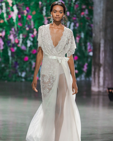 Galia Lahav Short Sleeve V-Neck Wedding Dress Fall 2018