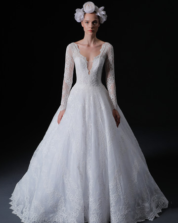 lace long sleeves deep v-neck a-line wedding dress Isabelle Armstrong Spring 2020