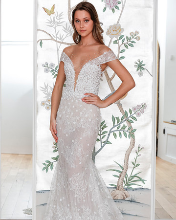 lee petra grebenau lace off the shoulder mermaid wedding dress spring 2020