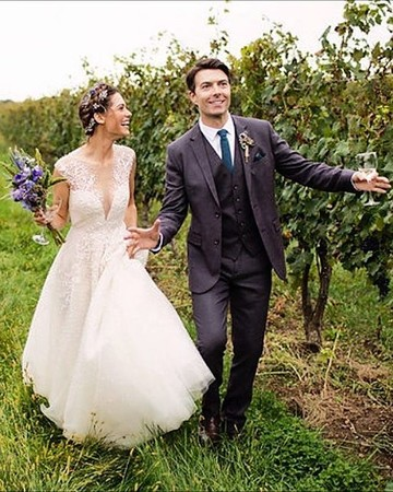 Lyndsy Fonseca and Noah Bean Wedding Portrait