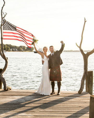 wedding couple dock waving