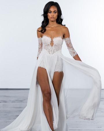 pnina tornai fall 2018 sheer overlay wedding dress