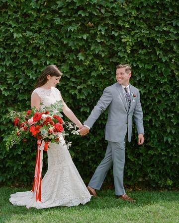 colleen stephen newport wedding couple holding hands
