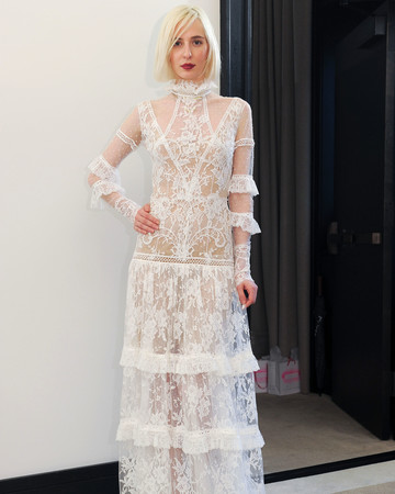 costarellos lace long sleeves ruffled wedding dress spring 2018