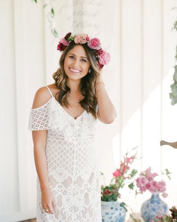 pink bridal shower flower crown