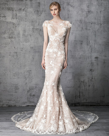 victoria kyriakides wedding dress spring 2019 cap-sleeve lace overlay