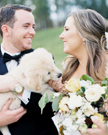 Bride and Groom with Dog at South Carolina Wedding