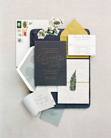 wedding stationery blue yellow stamps