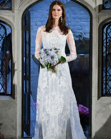oleg cassini lace sleeve wedding dress spring 2018
