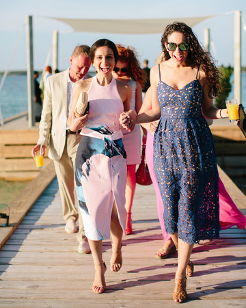 summer wedding guests navy and pink