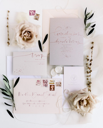 wedding invitation negative space metallic pop