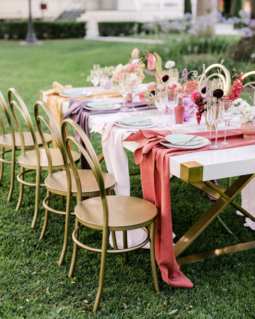 unique wedding color palettes pink table setting outdoors