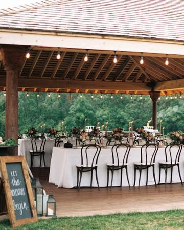 air bnb wedding venue tables set in outdoor gazebo