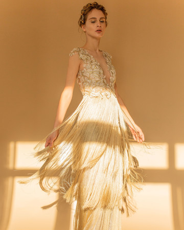 francesca miranda wedding dress fall 2018 v-neck gold fringe