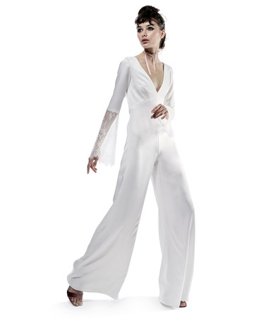 elizabeth fillmore wedding dress fall 2018 jumpsuit deep v neck long sleeves