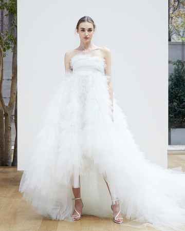strapless tulle Oscar de la Renta Spring 2018 Wedding Dress Collection