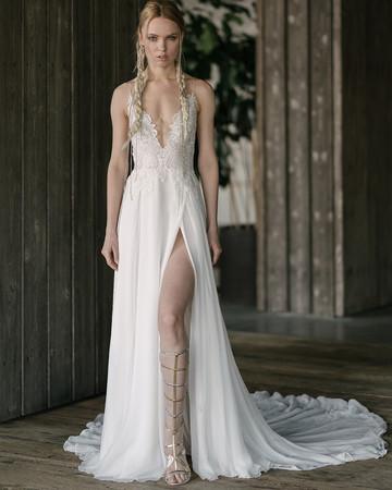 rivini by rita vinieris spring 2019 a-line wedding dress deep v-neckline and high slit
