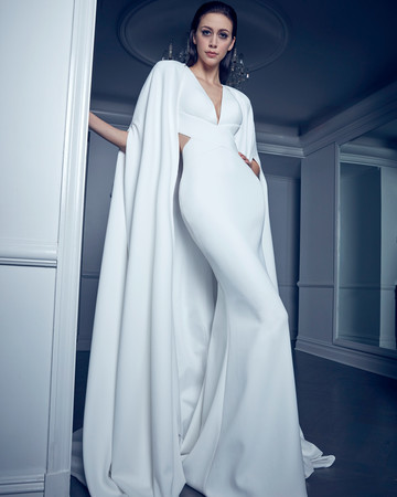 deep v-neck cape mermaid romona keveza collection spring 2020