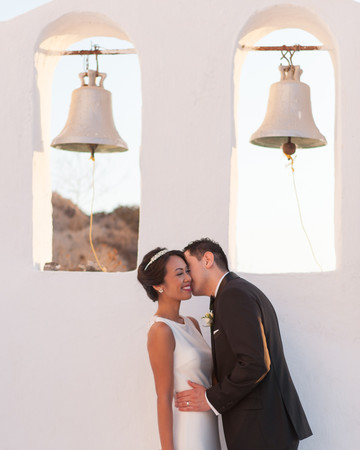 large wedding bell decor at wedding venue