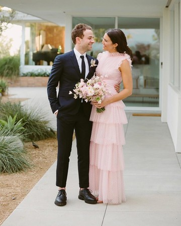 mandy moore pink wedding dress