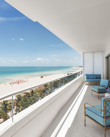 Faena Miami Hotel balcony overlooking the beach