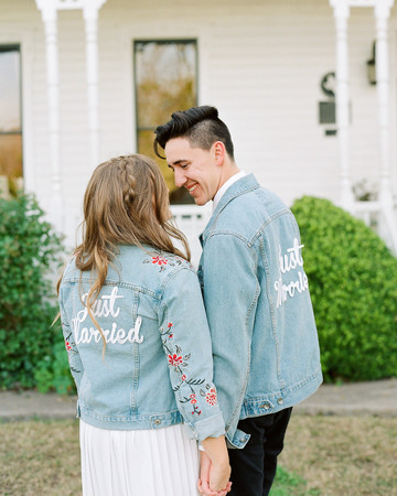 hayleigh corey wedding couple denim jackets