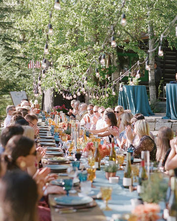 kaitlin jeremy rehearsal dinner guests at table
