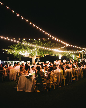 porsha terry wedding jamaica reception tables lights night