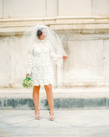 short wedding dress bride veil