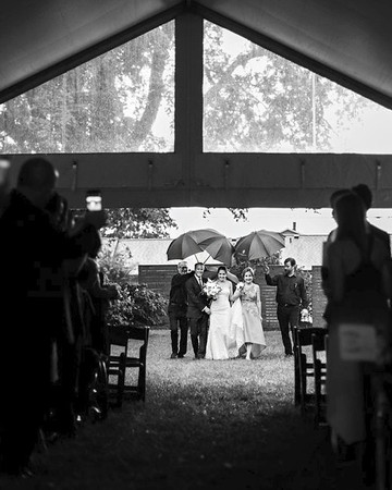 rainy wedding processional bride entrance