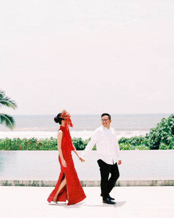 vivi yoga bali wedding ceremony couple red dress