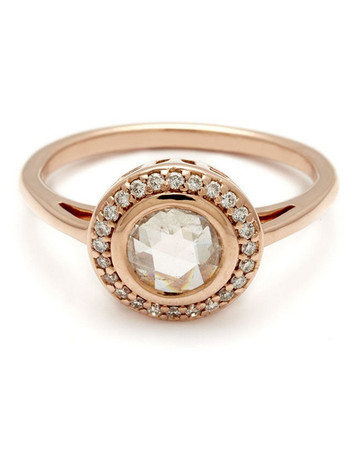 Anna Sheffield Bezel Round Rosette Ring with Champagne Diamond