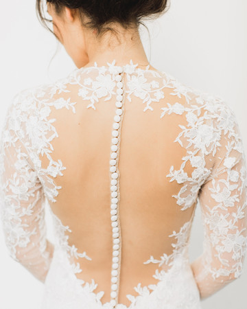 wedding dresses with buttons illusion back lace sleeves