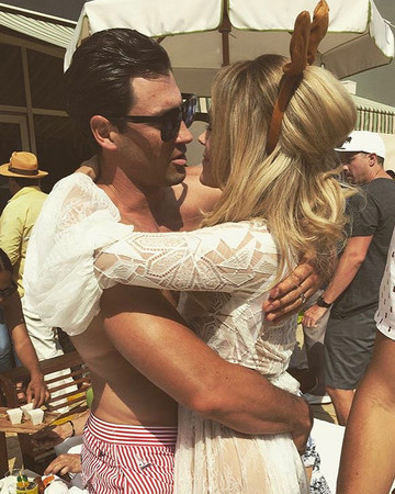 Maks Chmerkovskiy and Peta Murgatroyd at post-wedding pool party